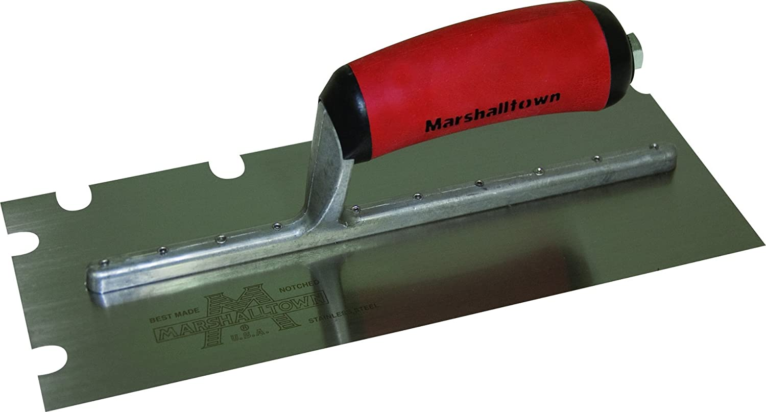 Marshalltown 5705SSD 11 x 4 1/2-Inch SS Notched Trowel with 3/16 x 3/16 x 5/8-Inch U Durasoft Handle