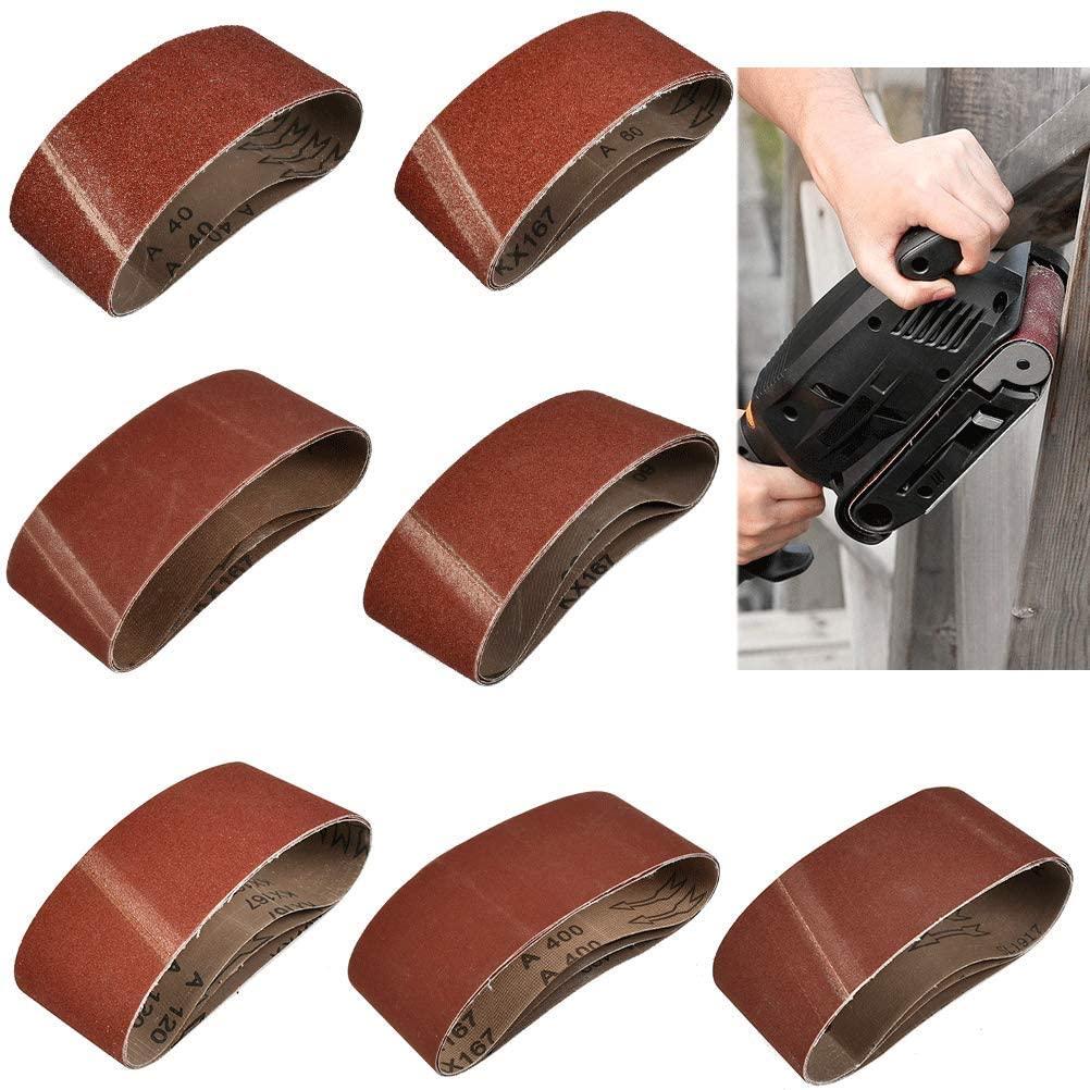 QLOUNI 3x18 Inch Sanding Belt, 20 Pack Aluminum Oxide Sanding Belts (3 Each of 60, 80, 120, 150, 240, 400 Grits, 2 of 40 Grits) for Belt Sander