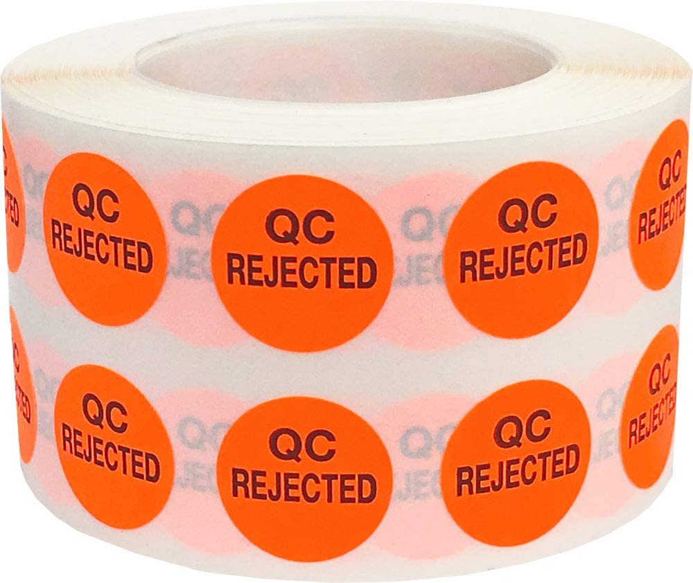 QC Rejected Labels 0.50 Inch 1,000 Total Adhesive Stickers On A Roll