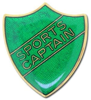 1000 Flags Sports Captain Pin Badge for High School or College in Green Colored Enamel