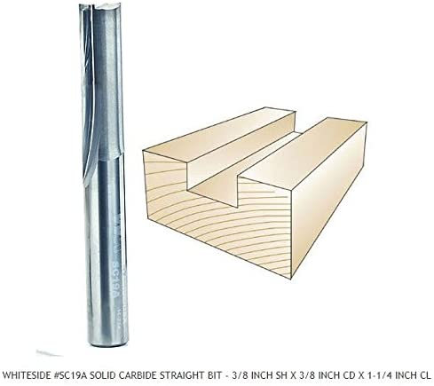 Whiteside Router Bits SC19A Standard Straight Bit with Solid Carbide 3/8-Inch Cutting Diameter and 1-1/4-Inch Cutting Length