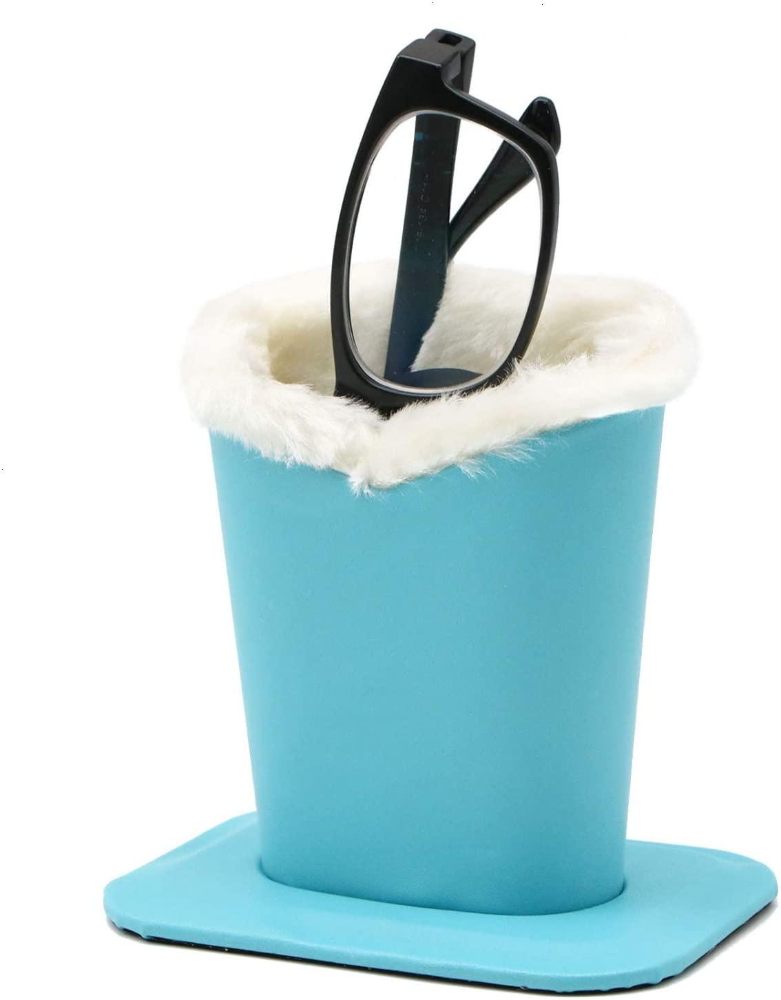 JETEHO Plush Lined Eyeglass Holder, Upright Eyeglass Holder & Stand - Eyeglasses Protective Case for Desk,Bedside Table and Nightstand (Blue)