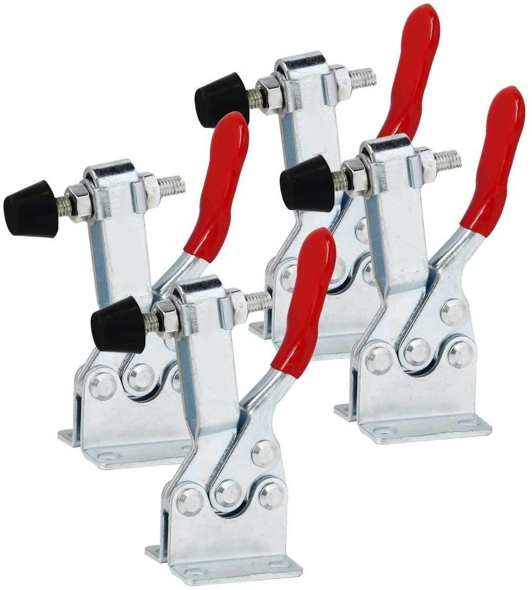 Driak 4 pcs Holding Capacity 100Kg Toggle Clamp GH-201B Iron–galvanized Antislip Red Horizontal Quick Push Pull Toggle Clamp for Hand Tool