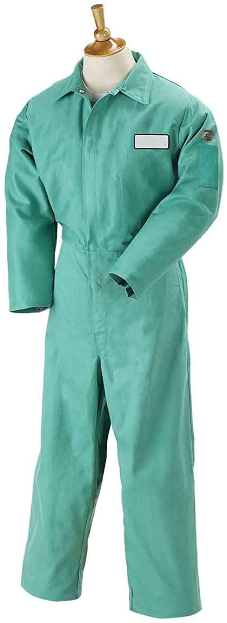 Revco F9-32CA/PT 9oz. Green FR Cotton Coveralls, Pass-Through Pockets, 3X-Large