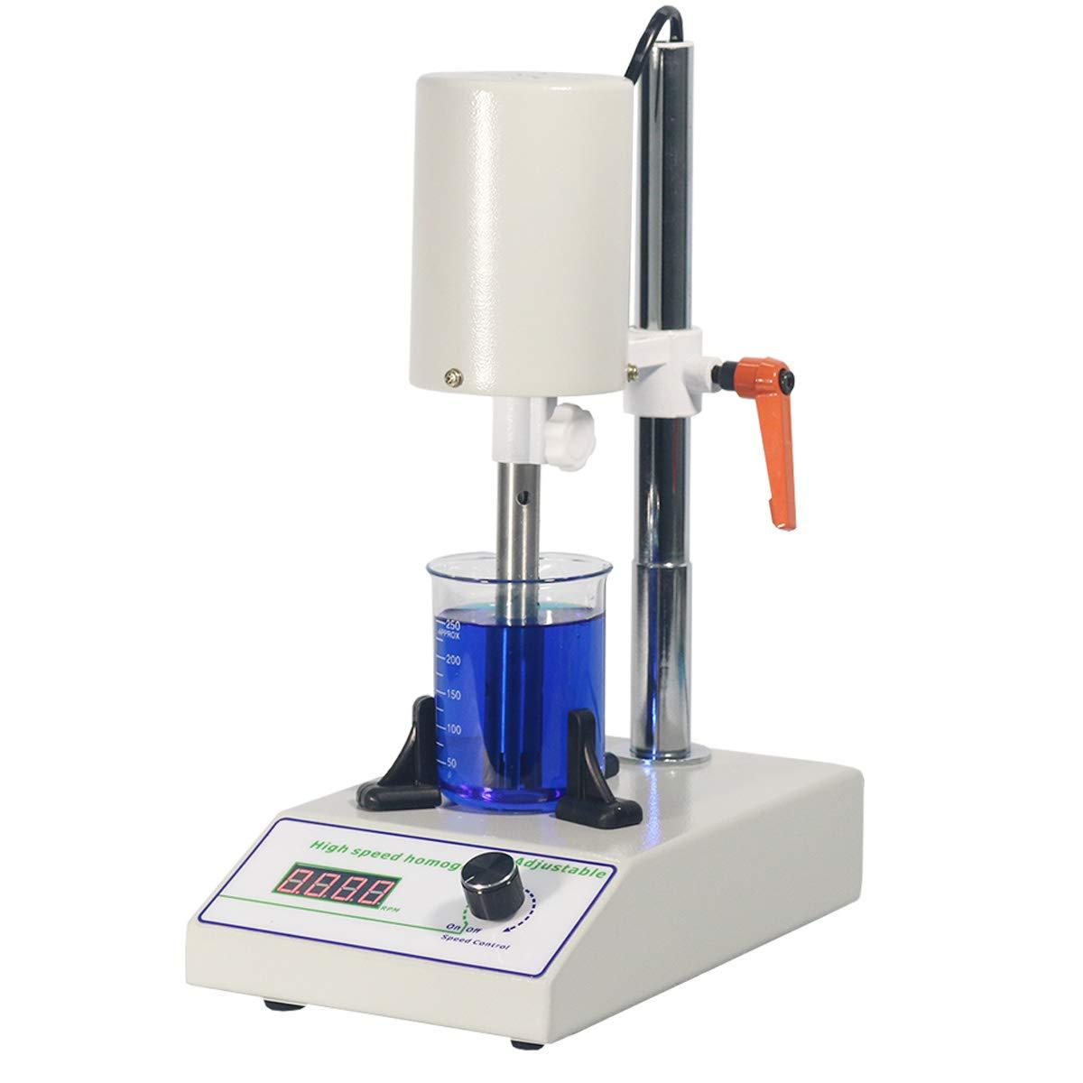 MXBAOHENG High Speed Homogenizer Adjustable FSH-2B Lab Disperser Emulsifier 5~1400ml 6000~22000rpm w/ 2 Working Heads 110V