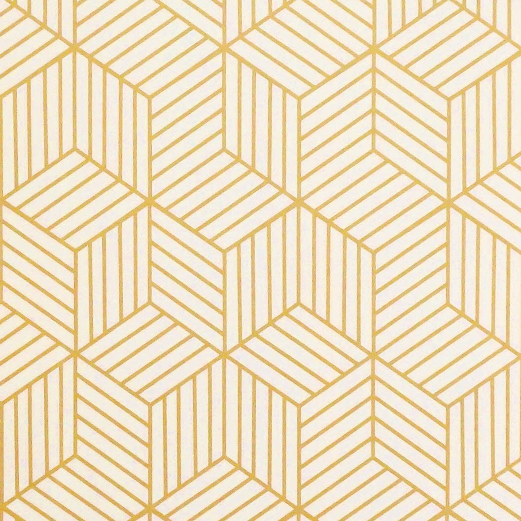 """Gold and Beige Geometry Stripped Hexagon Peel and Stick Wallpaper Gold Stripes Wallpaper Luxury Paper Removable Self Adhesive Vinyl Film Decorative Shelf Drawer Liner Roll78.7""""x17.7"""""""