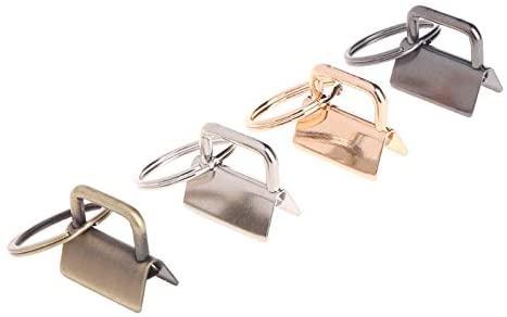 Ochoos 10Pcs Key Fob Hardware 25mm keychain Split Ring For Wrist Wristlets Cotton Tail Clip W-store Oct26_B - (Size: Black)