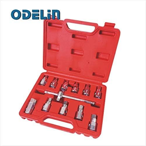 Engine Care 12Pc Drain Plug Key Socket Set Axle Oil Sump Spanner 3/8