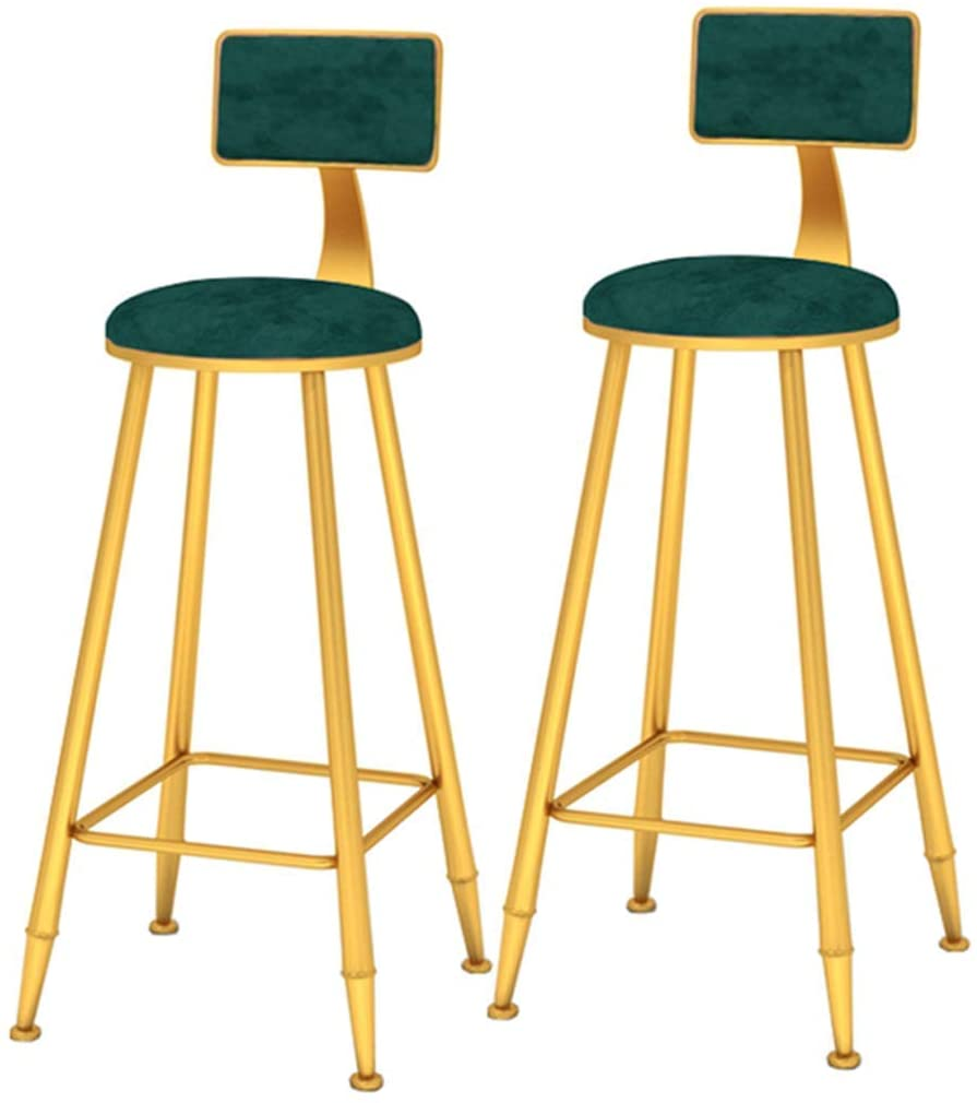 KMMK Desk Chairs,Living Room Bedroom Vanity Chair, Set of 2 Pcs Pub Bar Stool with Backrest and Metal Legs, with Footrest, Home Decoration, Max Load 200Kg,D,75Cm