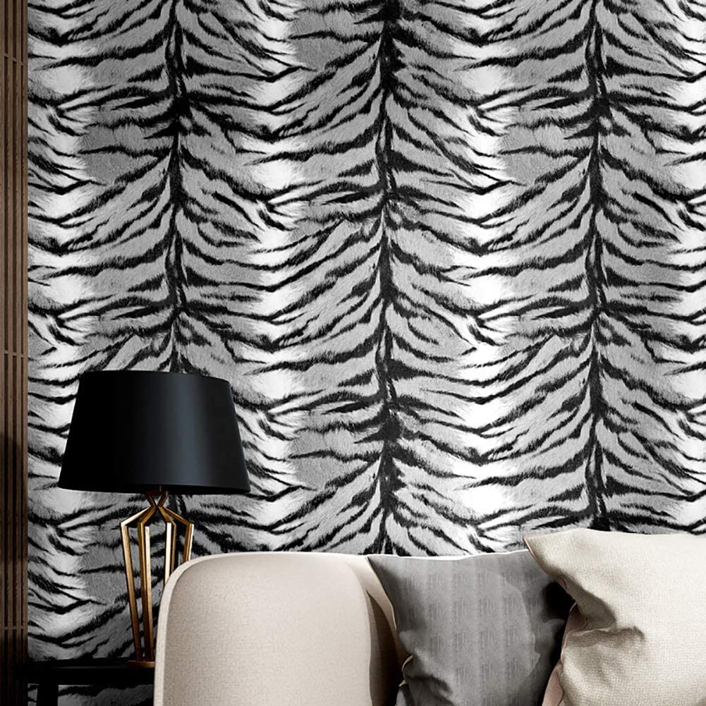 Xnxn 3D Zebra Pattern Wallpaper Roll,Vinly Decorative Wallcoverings,Refined Wall Decor for Bedroom Living Room Home Decoration Black-Grey 1.73ft32.8ft(0.5310m)