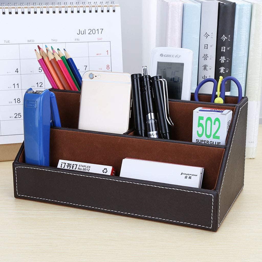 Office Organizer Desk Organizer Stationery Organizer Office Supplies Leather 5 Compartment,Multifunction Caddy Pen Holder Penholder Pen Box Desk-1