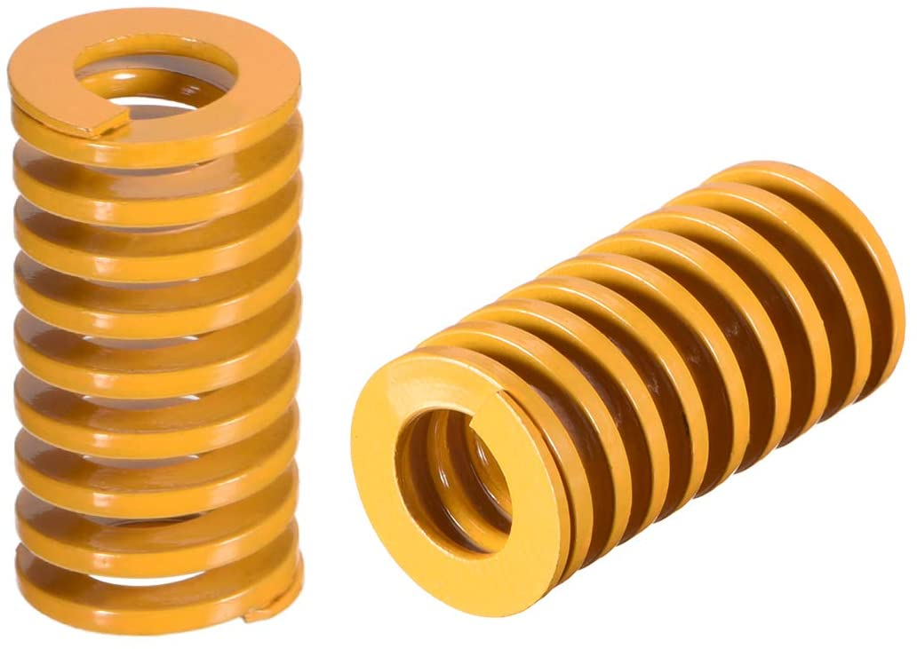 uxcell 16mm OD 30mm Long Spiral Stamping Light Load Compression Mould Die Spring Yellow 5Pcs