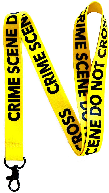 RockNerdy - Crime Scene Do Not Cross Lanyard Keychain w/Metal Clasp - Forensic ID Lanyard for Keys Badge Name Tag - Law Enforcement ID Holder Keychain for CSI Fan Men Women Kids (Yellow, 1 Lanyard)