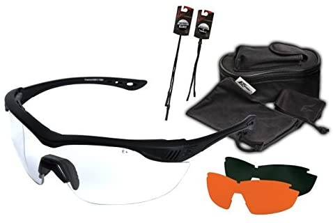 Edge Eyewear HO3K-1 Overlord 3 Lenses Kit – Soft-Touch Matte Black Frame/Clear Vapor Shield, Tigers Eye Vapor Shield, G-15 Vapor Shield Lenses
