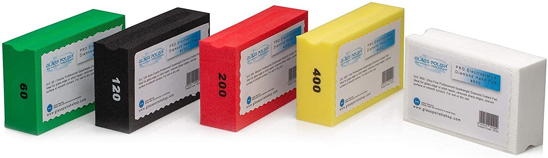 Glass Polish 15017 | Diamond Hand Pad Set, Hand-Held Sanding Blocks for Grinding, polishing, Sharp Edges | Set of 5 Pads
