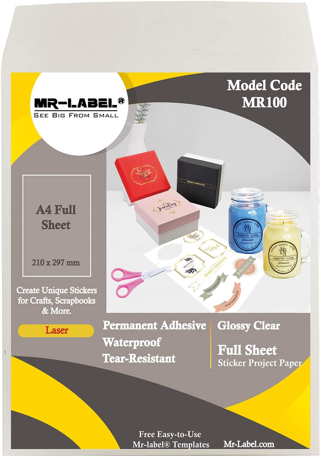 Mr-Label Extra Large Clear Full-Sheet Strong Adhesive Labels -Transparent Tear-Resistant Waterproof Stickers for Kitchen Use | Manufacturing and Storage - Laser Print Only (25 Sheets)