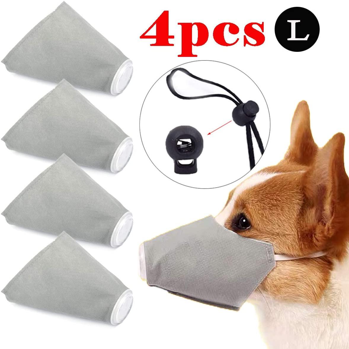 LKGEGO Dog Respirator Muzzle, Dog Protective Muzzle Breathable Pet Respirator Muzzle Adjustable Protective Muzzle for Small to Large Dogs (4 PCS)