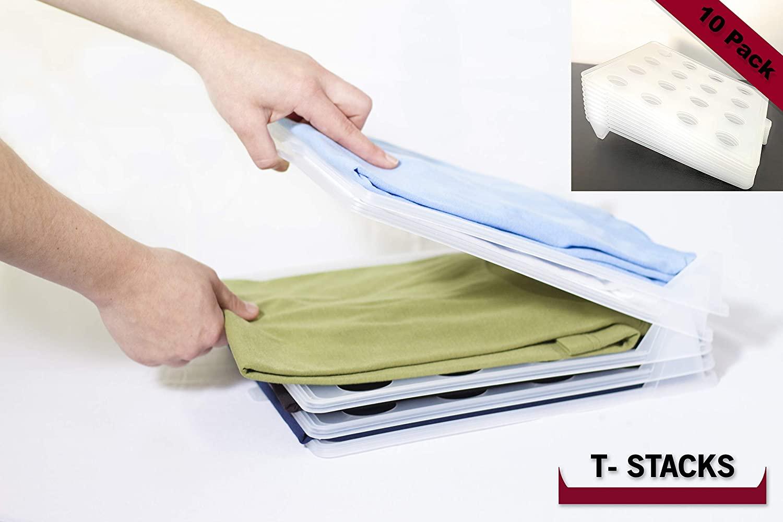 T-Stacks Closet Organizer   Sturdy Clothing Trays   Best Portable Clothing Organization System   10 Pack