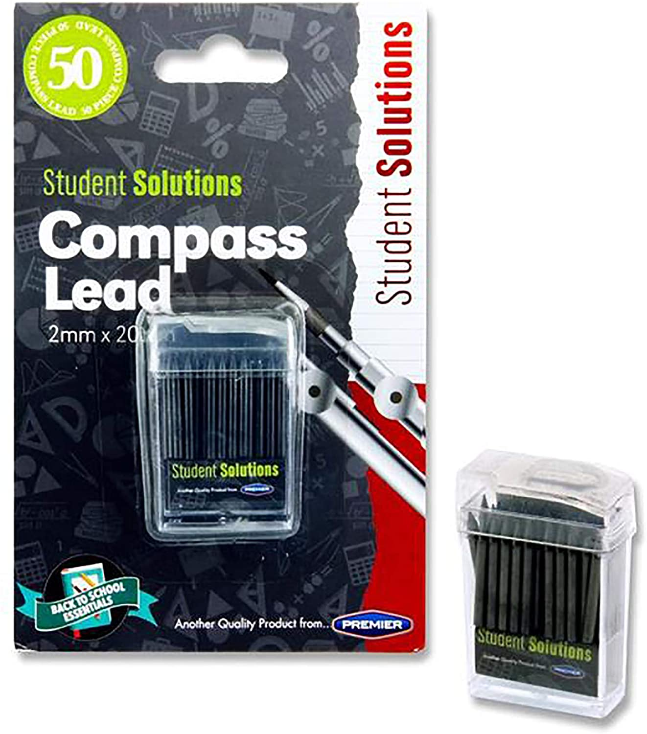 Premier Stationery W2112555 2 x 20 mm Student Solutions Compass - Black (Pack of 50)