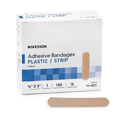 McKesson 16-4823 Medi-Pak Performance Sheer Adhesive Strip, 3/4 Width, 3 Length, 0.75 Width, 3 Length (Pack of 2400)