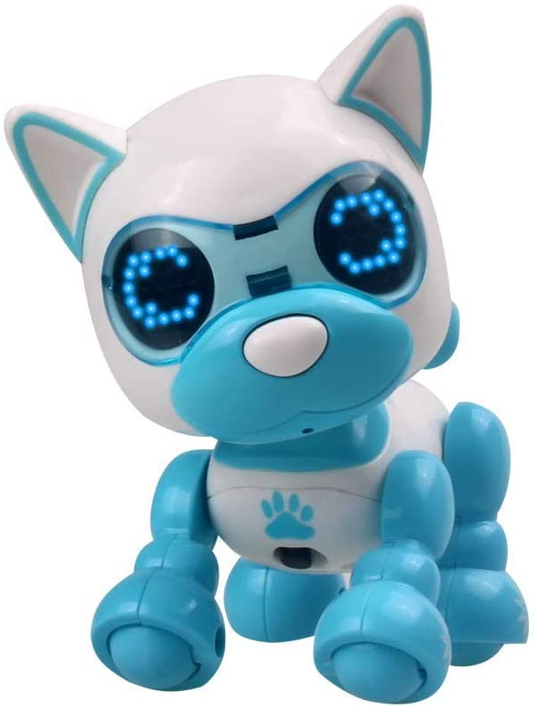 Wenini Interactive Robotic Dog Toy - Interactive Smart Puppy Robotic Dog LED Eyes Sound Recording Sing Sleep Cute Toy Xmas Gift for Kids (Blue)