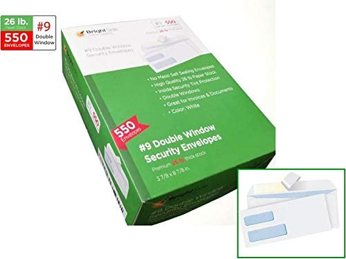 #9 Double Window Self Seal Security Envelopes for Quickbooks by BrightSide Office Supplies | Great for Checks Invoices and Statements | Quality 26 lb thick paper Color White 550 ct