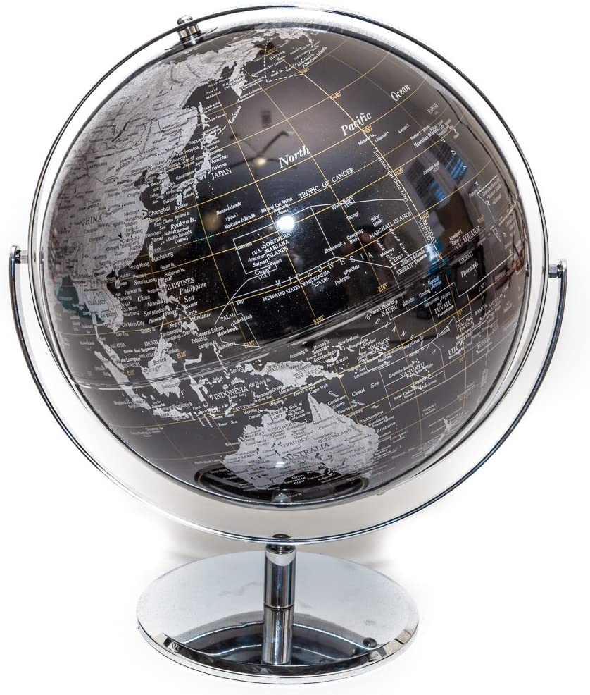 Black & Silver Globe of The World 12