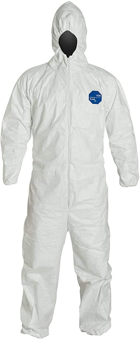 DuPont TY127S Tyvek Fabric Protective Coverall with Hood, Disposable, Elastic Cuff 3XL White 1 Pack