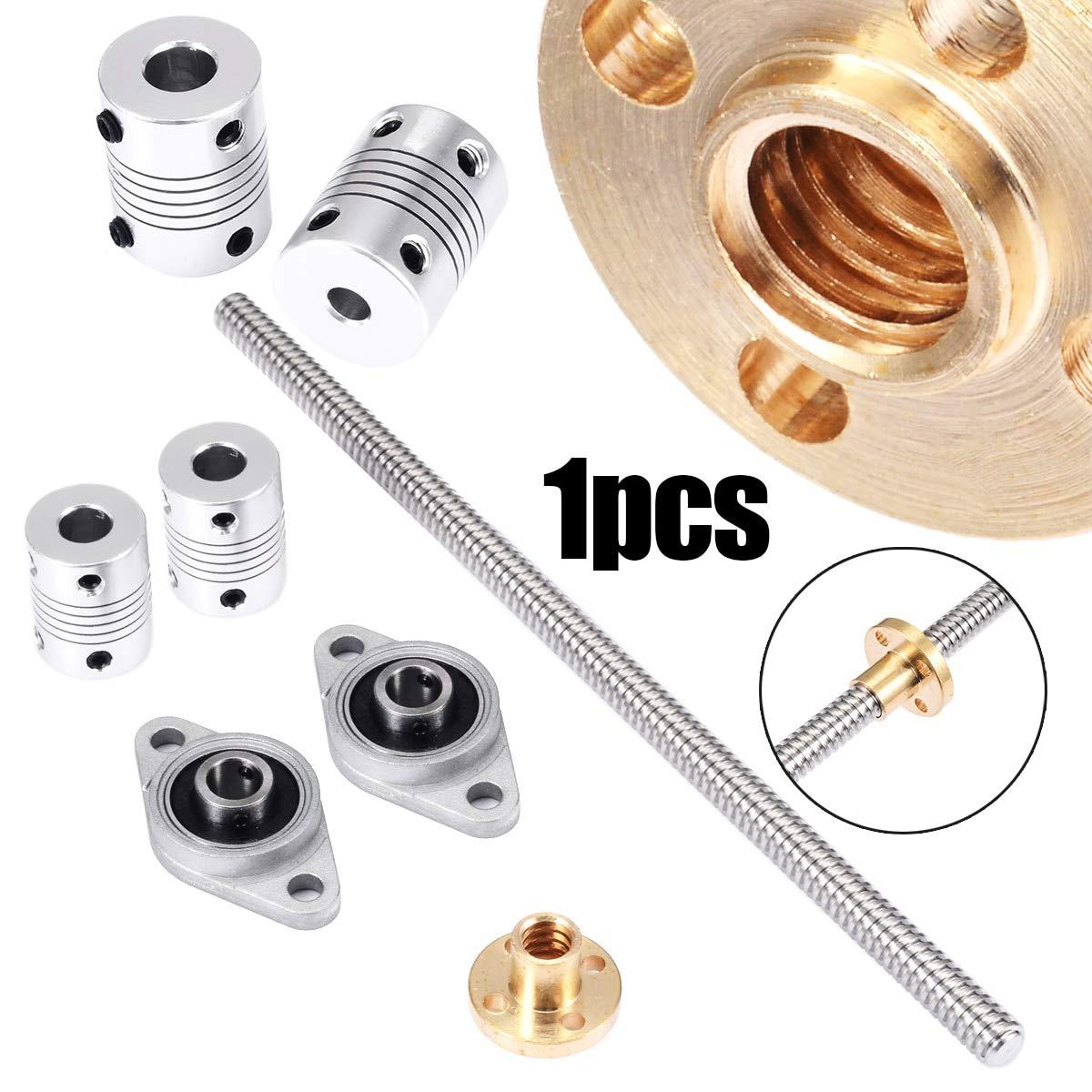 Ochoos 1pc T8 2mm Lead Screw Rod CNC Linear Rail Bar Shaft+2pcs Coupling+2pcs Pillow Block Suited for Industrial Automation Equipment
