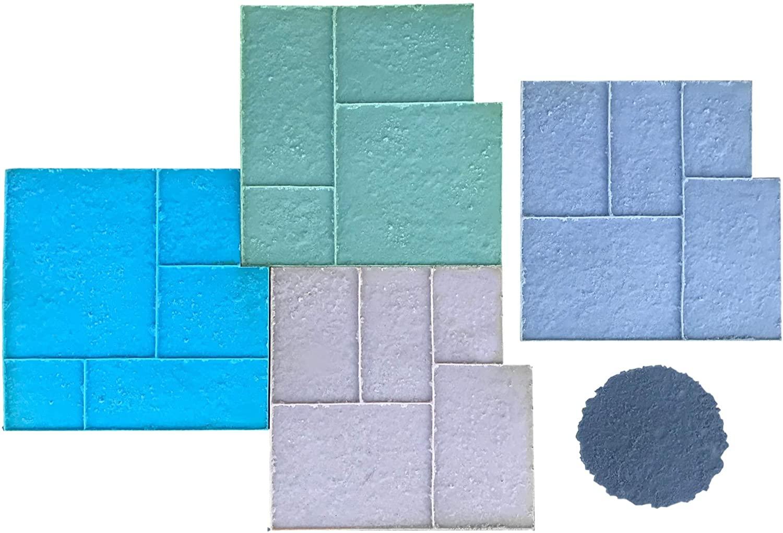 Old World Ashler Stone Concrete Stamp Set by Walttools | Decorative Tile Pattern, Sturdy Polyurethane Texturing Mats, Realistic Detail (8 Piece)