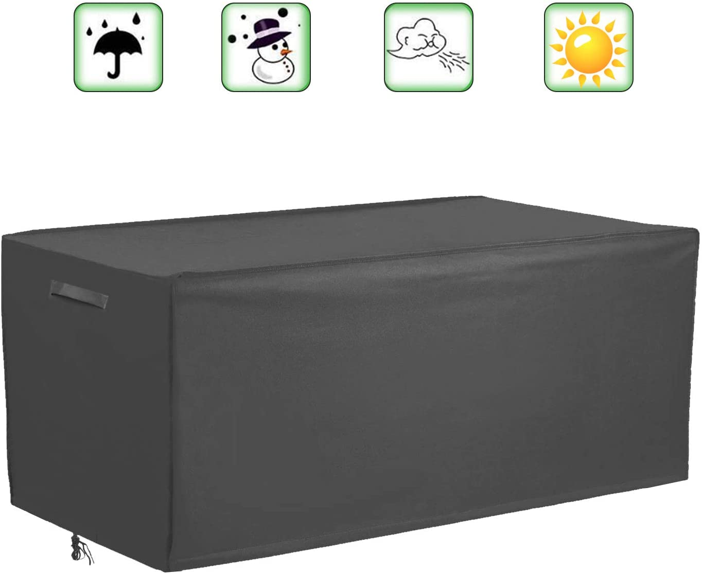 Patio Deck Box Cover Outdoor Cushions Box Cover, Waterproof Outdoor Storage Box Protector, Rectangular Coffee Table Cover 51.5