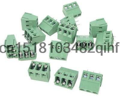 Davitu Terminals - 15Pcs 300V 10A 3 Pins 5mm Pitch PCB Screw Terminal Block Converter Male Green