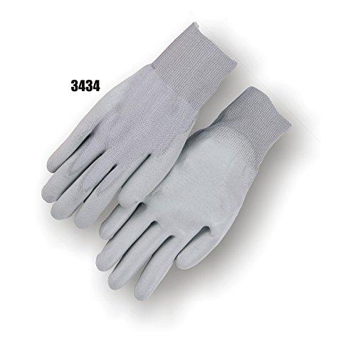 Majestic Glove 3434/M Polyurethane Gray Palm On Knit Gloves, Medium (Pack of 12)
