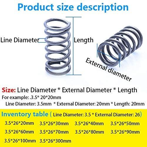 5Pcs/1pc Line Diameter 3.5mm, External Diameter 26mm, Length 20mm-300mm Pressure Spring Compressed Spring Telescopic Spring (Size : 50mm(5Pcs))