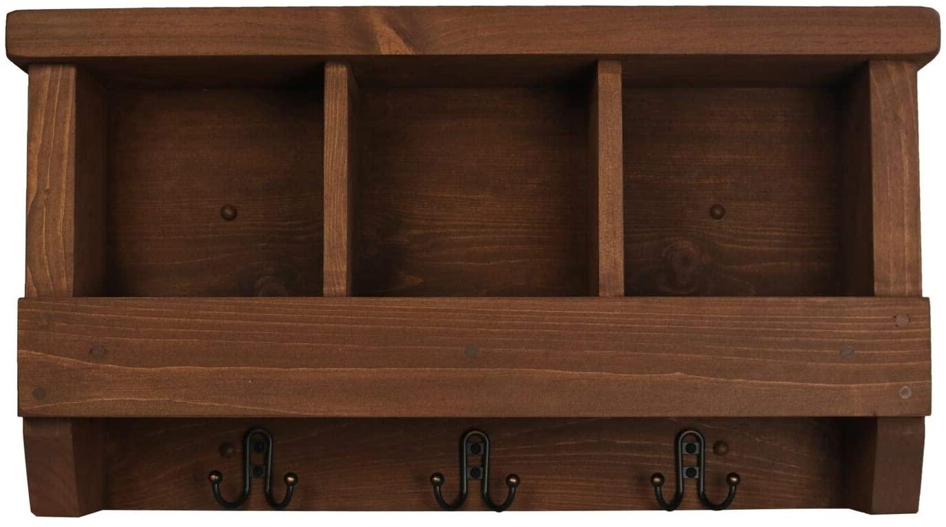 Rooms Organized Cubbie Shelf Wall Mounted Pine Wood Coat Rack with Double Hooks (Walnut)