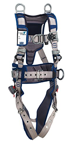 3M DBI-SALA 1112578 ExoFit STRATA, Aluminum 6 D-Rings, Tongue Buckle Leg Straps with Sewn in Hip Pad & Belt, X-Large, Blue/Gray