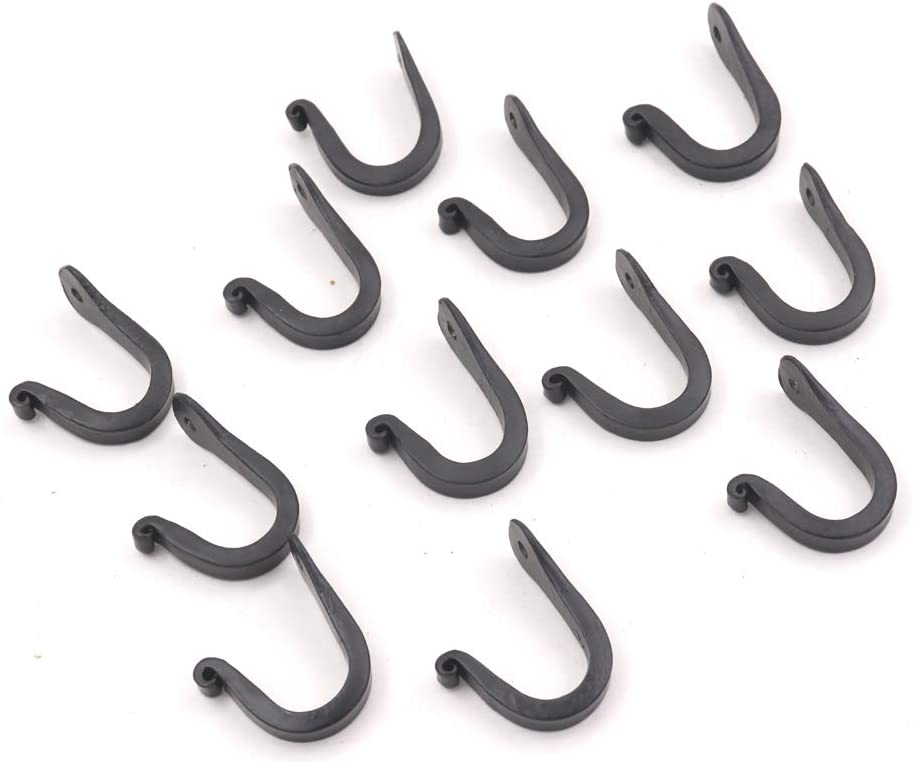 THDC Nail Hooks, Vintage, Rustic Curved Metal Fasteners – Decorative Colonial Wall Décor, Heavy Duty Wall Hooks, Hangers for Keys, Coats, Robe, Bags, Home, Kitchen Set Of 12 (Small 1