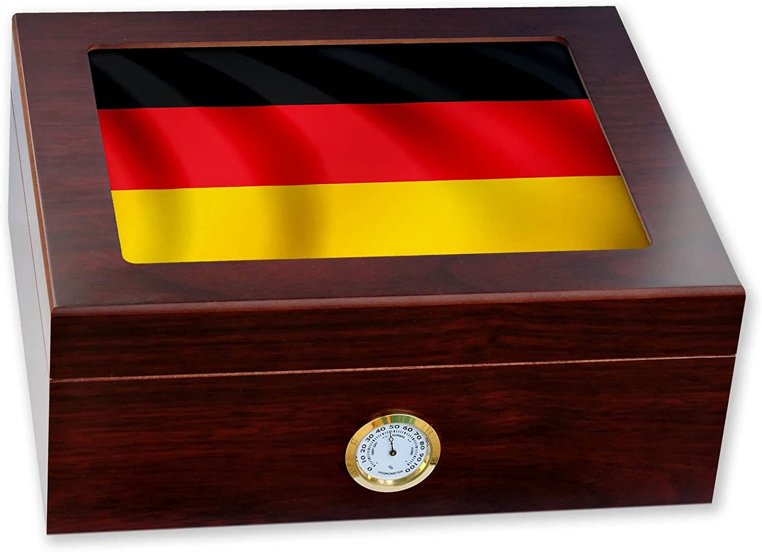ExpressItBest Premium Desktop Humidor - Glass Top - Flag of Germany (German) - Waves Design - Cedar Lined with humidifier & Front Mounted Hygrometer.