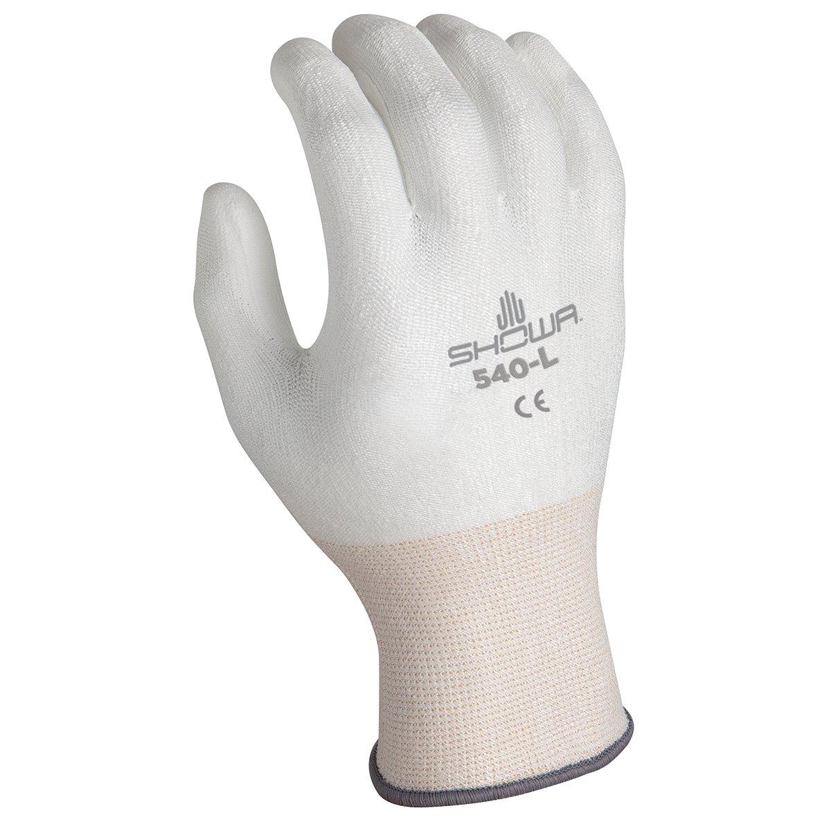 SHOWA 540 Polyurethane Palm Coating Glove, 13-Gauge Engineered HPPE Fiber Liner, Cut Resistant, Large  (Pack of 12 Pairs)