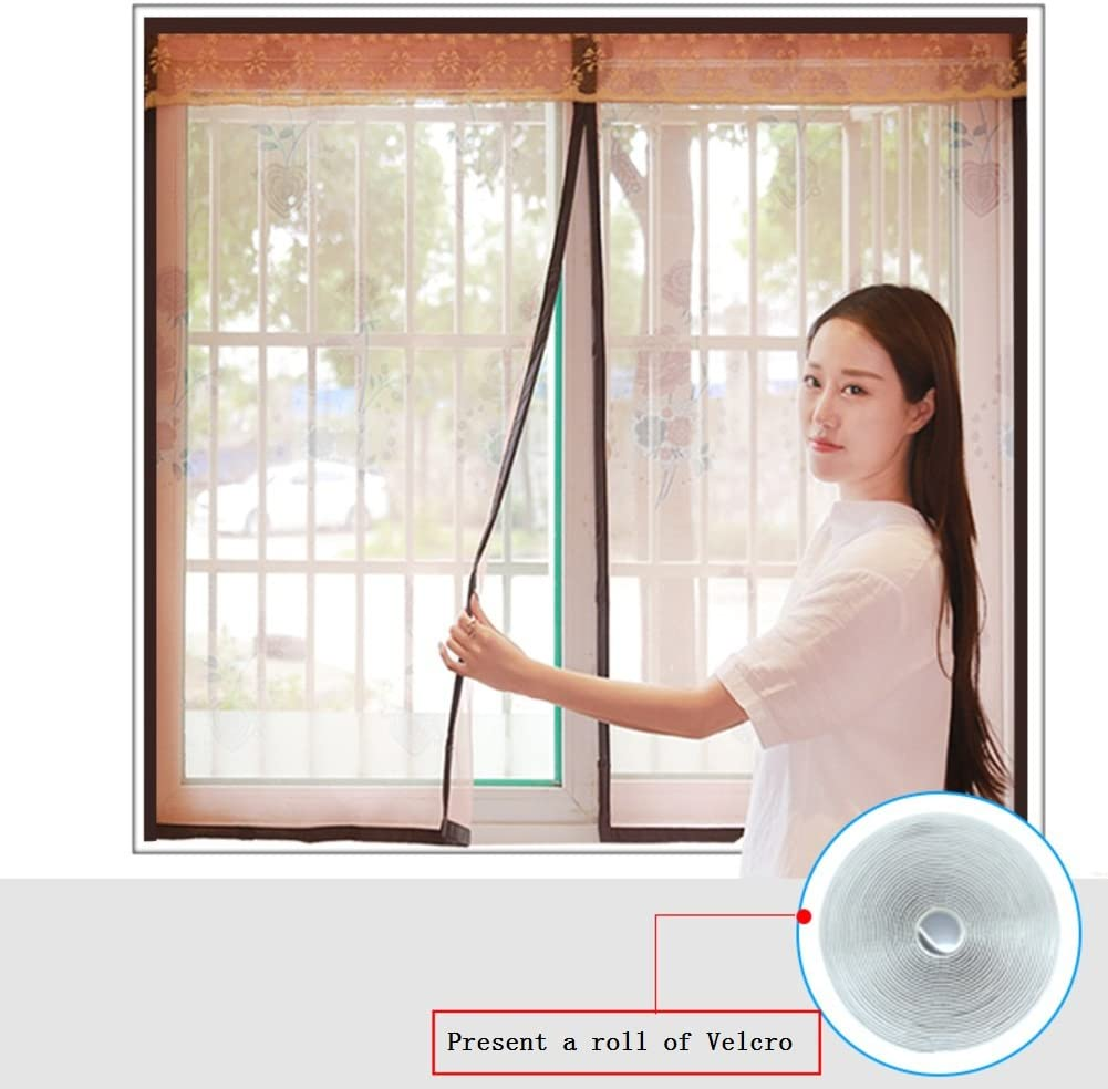 Magic Tape Window Screen Magnetic Soft Yarn Curtain Encryption for Bedroom Kitchen Screen Mesh-Brown 130x150cm(51x59inch)