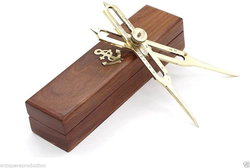 Nautical Gift Decor Solid Brass Proportional Divider Marine Navigation Compass With Wooden Box