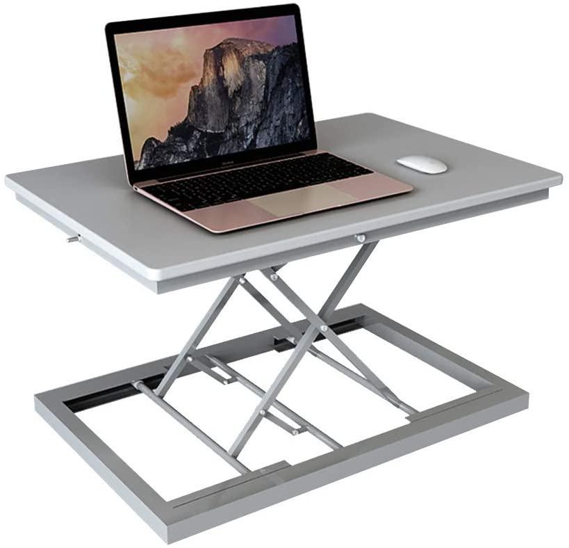 LXU Table,Desks Folding Table,Lifting Computer Notebook Lifting Bracket,Folding Portable Computer Study Table -Workbench,Gray