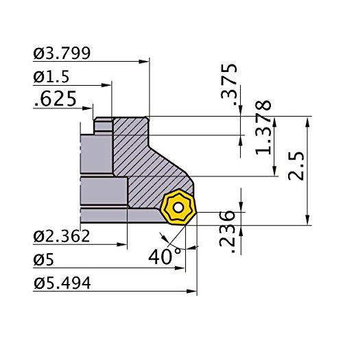 Mitsubishi Materials AHX640WR0518E AHX640W Series Arbor Face Milling Cutter, Right Hand, 40° Angle, 18 Teeth, 5