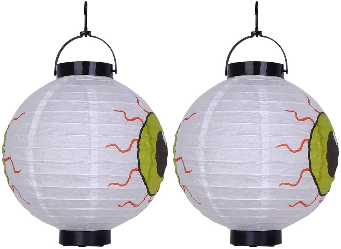 OSALADI 2pcs Halloween Paper Lanterns LED Lantern with Big Eyeball Scary Haunted House Props for Bar Lawn Halloween Party Decorations Supplies