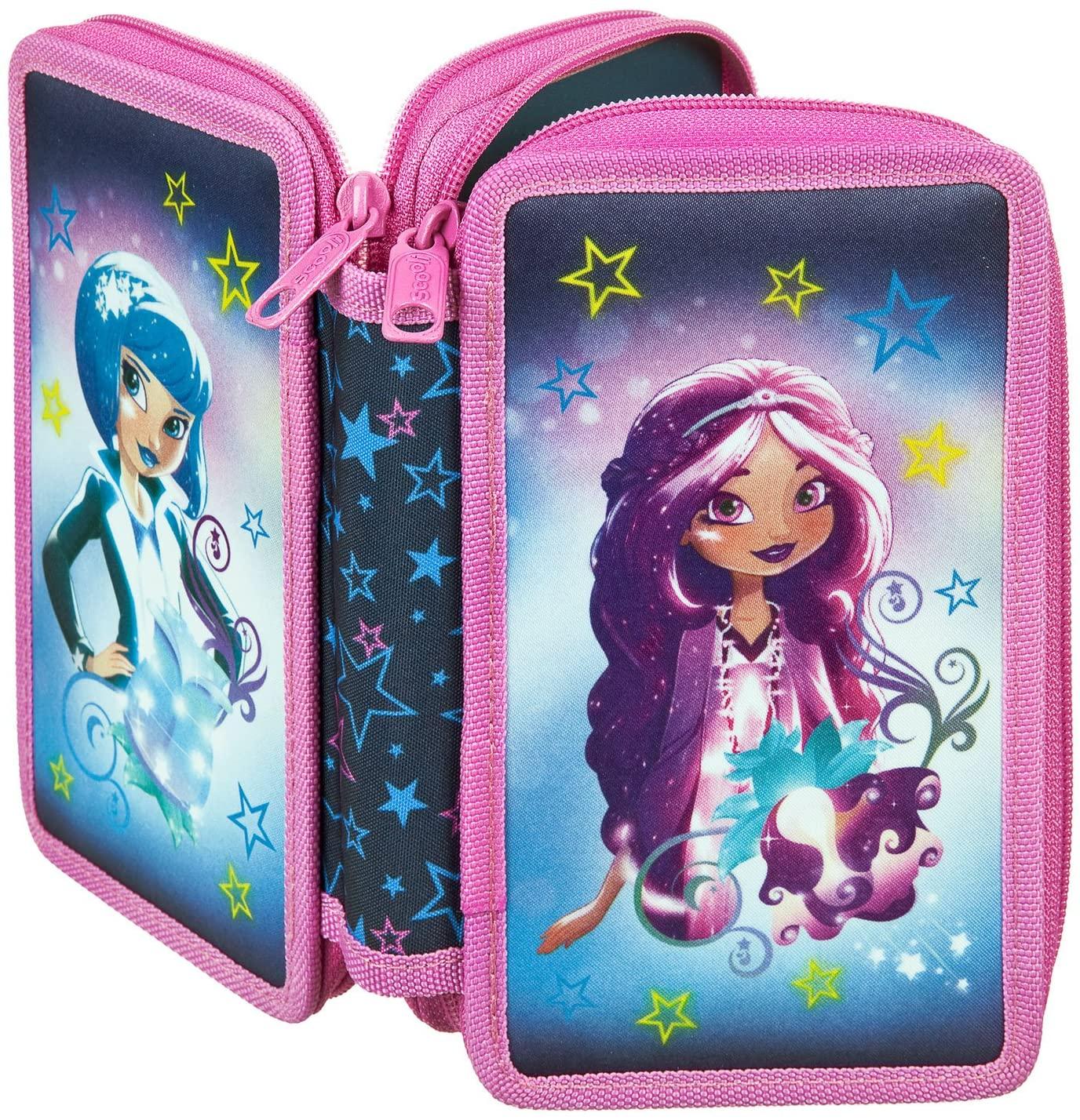 Scooli–Double Decker Stabilo Brand Filled School Pencil Case–Disney Star Darlings