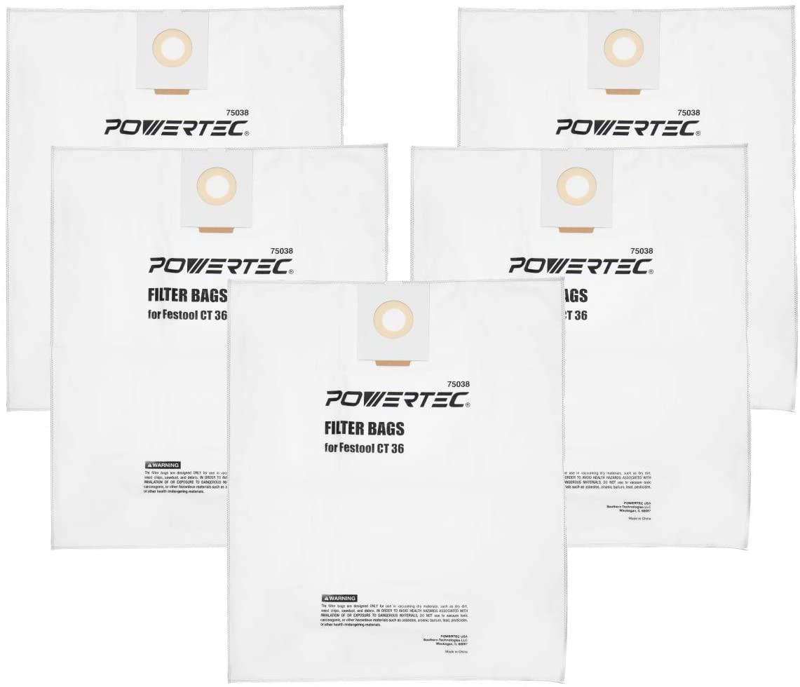 POWERTEC 75038 Self-Cleaning Filter Bag for Festool CT 36 496186(5-Pack), Fit Festool CT 36