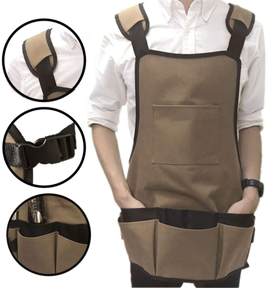 Nbrand (Apron only, Without Tools) Canvas Multifunctional Pocket Garden Apron Suit Storage Bag Garden Tool Clothing