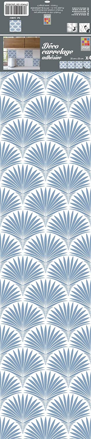 Plage 260802 4 Tiles Stickers - Blue Leaves, Blue (20 x 20 cm)
