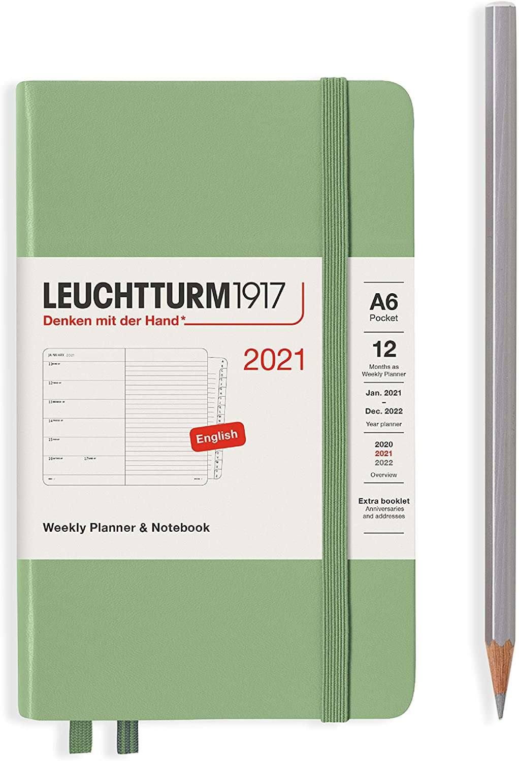 Leuchtturm1917 Weekly Planner & Notebook Pocket (A6) 2021 with extra booklet, English, Sage