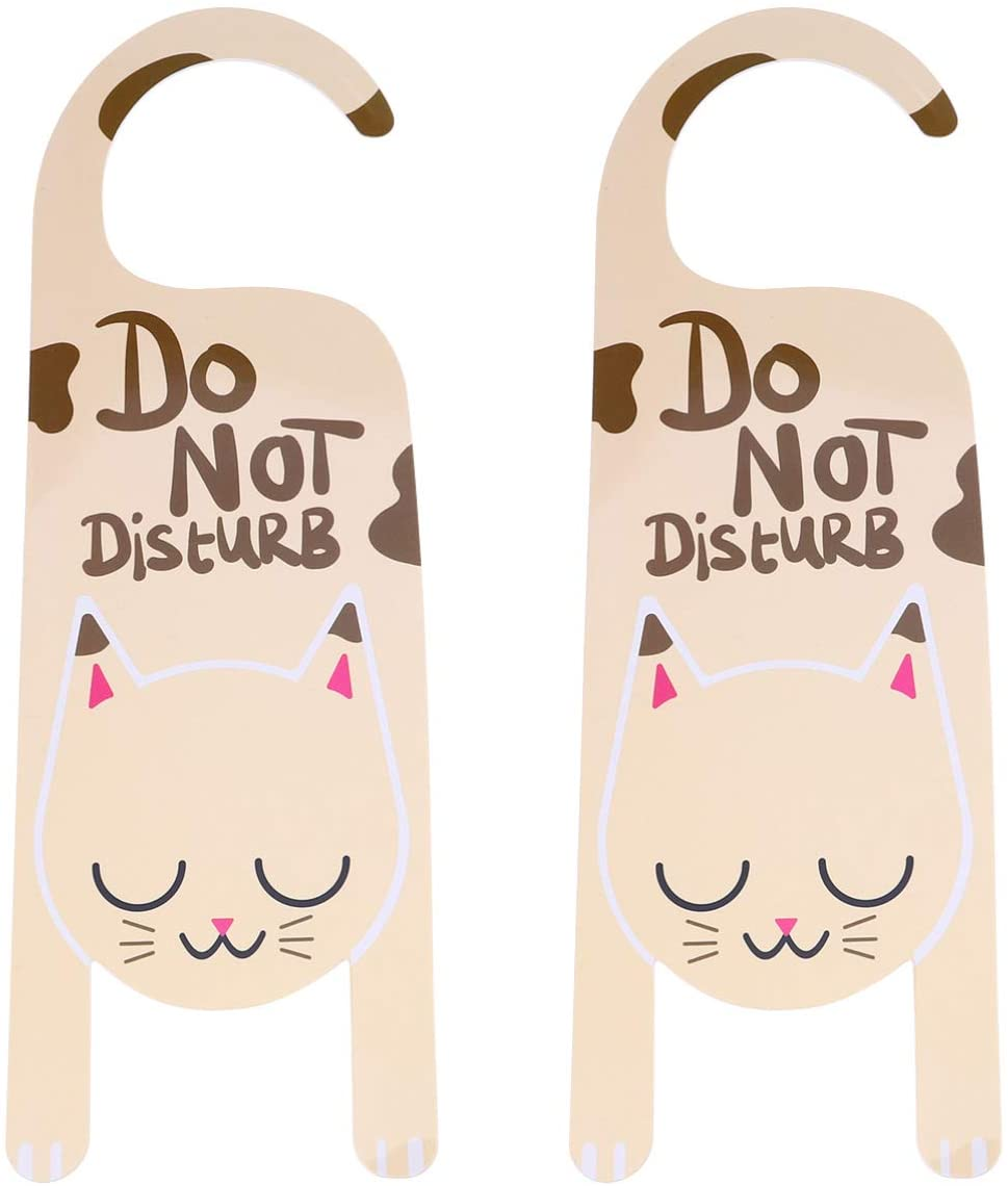 Do Not Disturb Door Hanger Sign Cat Door Knob Hanger Tag for Home Office Restroom Conference Hotles Hospital Privacy Slide